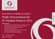 Public Procurement for EU Funded Projects 2012