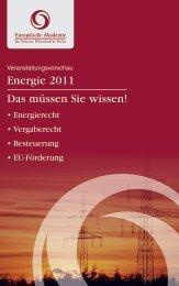 Energie 2011 Das müssen Sie wissen! - Europäische Akademie für ...