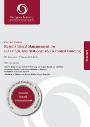 Results Based Management for EU Funds, International and ...