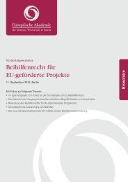 Beihilfenrecht für EU-geförderte Projekte - Europäische Akademie ...