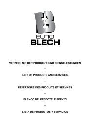 Verzeichnis der Produkte & Dienstleistungen - EuroBLECH