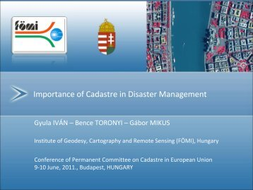 Importance of Cadastre in Disaster Management - Permanent ...