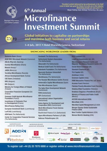 Brochure: C5's Sixth Annual Microfinance Investment ... - EuroCharity