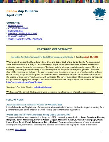 Fellowship Bulletin April 2009 - Ashoka