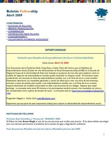 Boletín Fellowship Abril 2009 - Ashoka