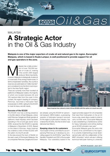 Malaysia A Strategic Actor in the Oil - Eurocopter
