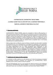 contribution de l'EURODISTRICT - Regio Pamina