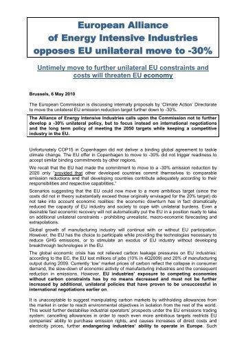 European Alliance of Energy Intensive Industries - Eurofer