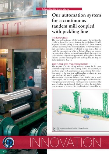 Our automation system for a continuous tandem mill coupled with ...