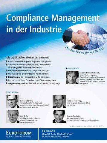 Compliance Management in der Industrie - Euroforum