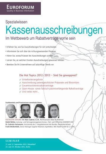 Kassenausschreibungen - Euroforum