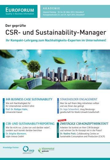 CSR- und Sustainability-Manager - Euroforum