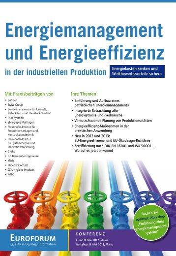 Energiemanagement und Energieeffizienz - Euroforum