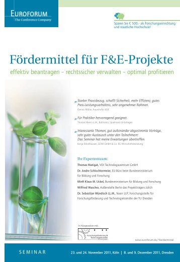 Fördermittel für F&E-Projekte - Euroforum