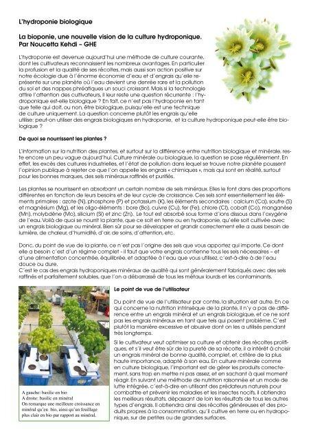 L'hydroponie biologique La bioponie, une nouvelle vision de la ...