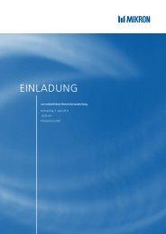 Einladung Generalversammlung 2011 - Mikron