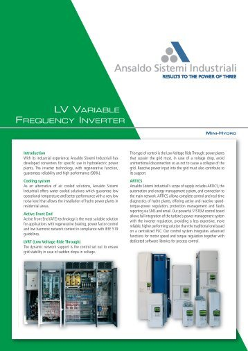 Technical Data Sheet - Hydro VFD - Ansaldo Sistemi Industriali