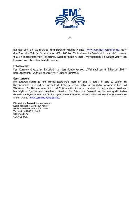 Weihnachten & Silvester 2011 - Euromed Beratungs- und ...