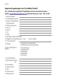 Agenturfragebogen der EuroMed GmbH & Co