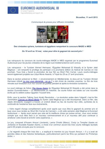 Bruxelles, 11 avril 2013 Communiqué de presse pour diffusion ...