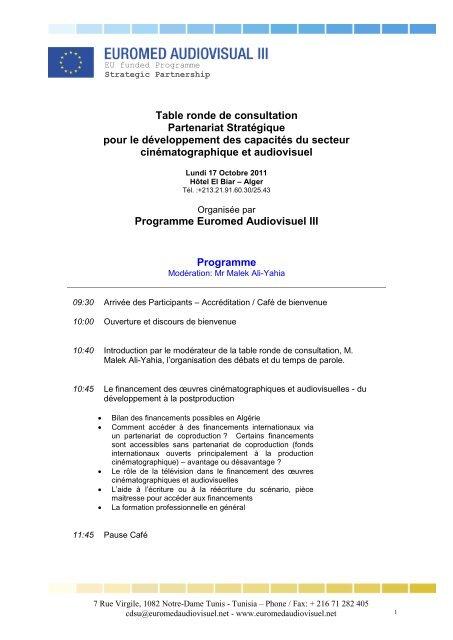 Le Programme De La Table Ronde De Consultation En Algerie