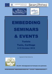 EMBEDDING SEMINARS & EVENTS - Euromed Heritage