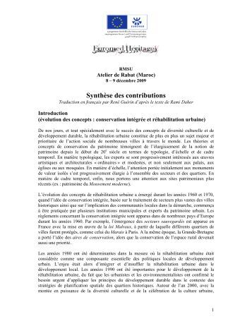 Rapport de synthèse - Euromed Heritage