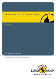 APPLICATION OF STAR RATINGS - Euro NCAP