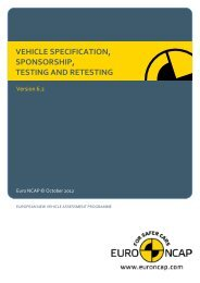 vehicle specification, sponsorship, testing and ... - Euro NCAP