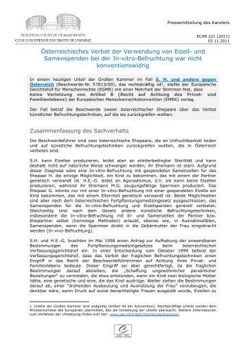 Österreichisches Verbot der Verwendung von Eizell- und ...