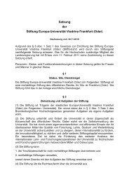 Satzung der Stiftung Europa-Universität Viadrina Frankfurt (Oder)