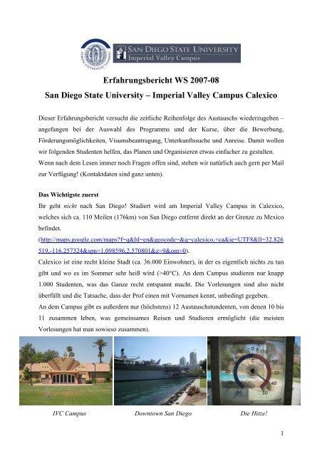 San Diego State University (WiSe 2007) - European University ...