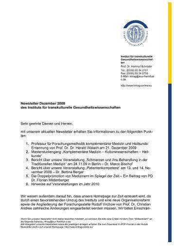 Newsletter Dezember 2009 des Instituts für transkulturelle ...