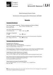 Präsident der Universität Hannover, Postfach 60 ... - European Studies