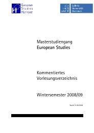 Masterstudiengang European Studies Kommentiertes ...