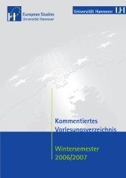 Kommentiertes Vorlesungsverzeichnis ... - European Studies