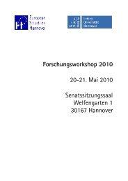 Forschungsworkshop 2010 20-21. Mai 2010 ... - European Studies