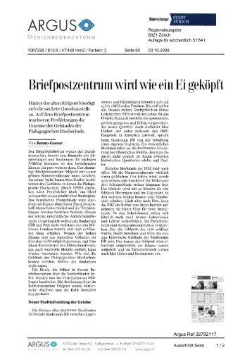 Tages-Anzeiger von 03.10.2008, 233 KB - Europaallee