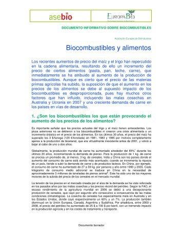 Biocombustibles y alimentos - Europabio