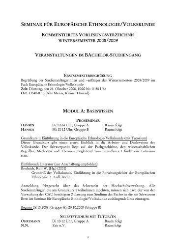 Wintersemester 2008/2007 - Seminar für Europäische Ethnologie ...