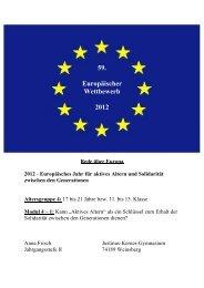 59. Europäischer Wettbewerb 2012