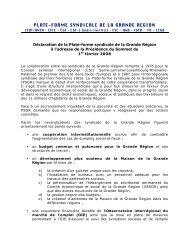 Déclaration de la Plate-forme syndicale de la Grande Région