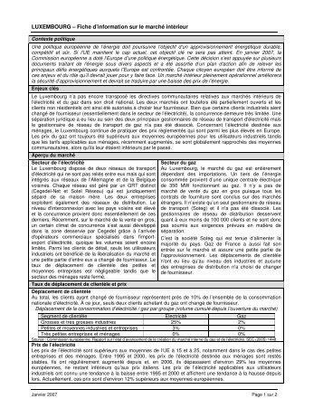 LUXEMBOURG – Fiche d'information sur le marché intérieur ...