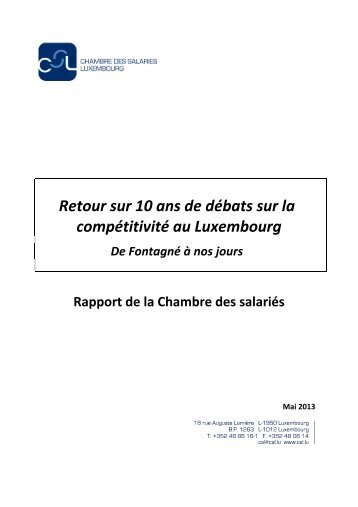 Retour sur 10 ans de débats sur la compétitivité au Luxembourg ...