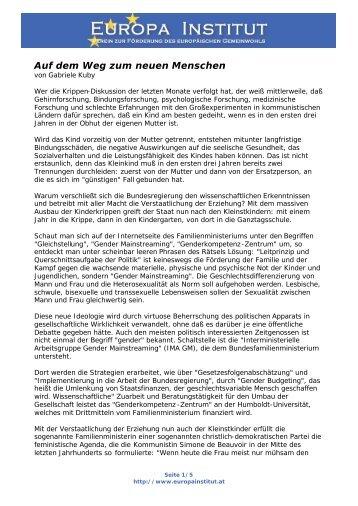 Erschaffung des neuen, geschlechtsvariablen ... - Europainstitut