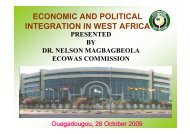ECONOMIC AND POLITICAL INTEGRATION IN WEST AFRICA