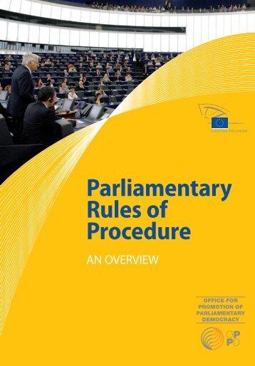 Parliamentary Rules of Procedure - European Parliament - Europa