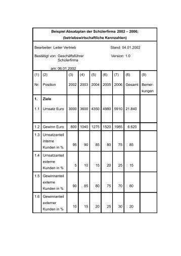 beispiel absatzplan der schlerfirma 2002 2006 - Kritikgesprach Beispiel