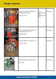 Brugte maskiner www.europart.net/dk - EUROPART - europart.de