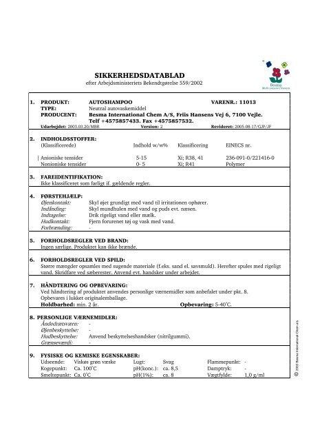 SIKKERHEDSDATABLAD: AUTOSHAMPOO - EUROPART ...
